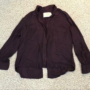 Anthropologie Bella Dahl purple button up shirt XL